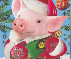 Прикольная новогодняя открытка в год Свиньи 2019