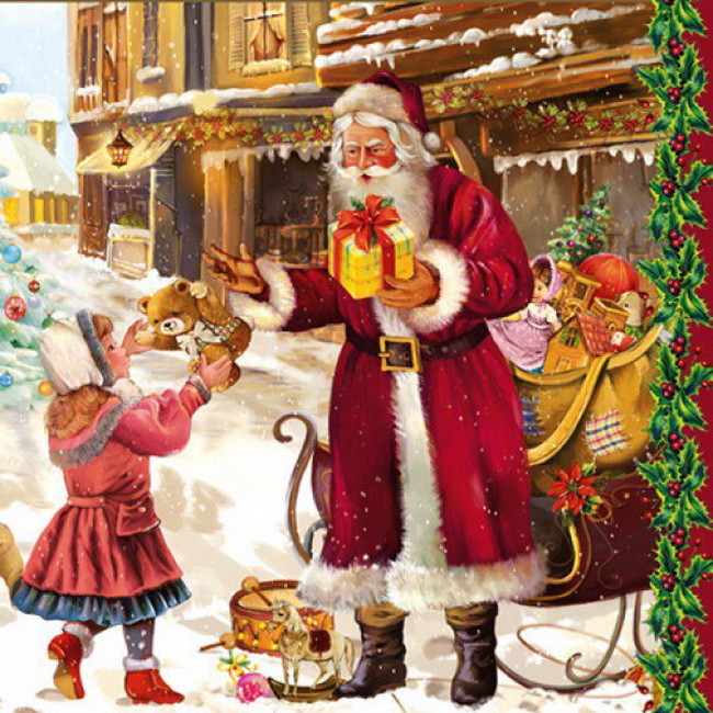 Дед Мороз раздает подарки, С Новым годом 2019
